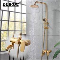 Mathed Gold Ванная комната Смеситель для душа Душ Смеситель для дождевой головки W / ручная баня повернутые распылительные наборы