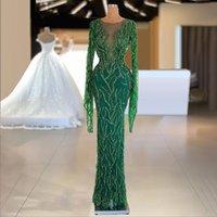Green Long Sleeve Evening Dress 2022 Lace Sequins Beading Prom Gowns Sheer Neck Formal Dresses Vestidos De Novia