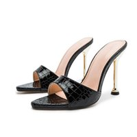 Slippers KM-ROYA Snake Pattern 2021 Sexy Ladies' Sandals 10cm High Heel Plus Size 41-42 Party Dress Women's Slides Summer Shoes