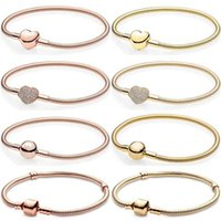 Momentos originales Pave Heart Ball Barril Barril Clasp Cadena de serpiente Pulsera Bangle Fit Europe 925 Sterling Silver Bead Charm Jewelry G0916
