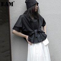 Женские блузки Рубашки [EAM] Женщины Черный Большой Размер Бандаж Блузка Круглая Шея Половина Рукава Свободная подходящая Рубашка Мода Прилив Весна Лето 2021 1D