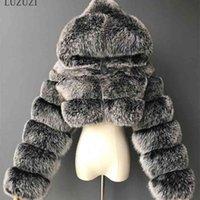 Лузузи зима пушистый обрезанный из искусственного шуба пушистые пальто с капюшоном теплый меховой куртки дамы Manteau Femme 210910