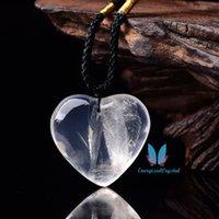 Natural Reiki Branco Quartzo Coração Charme Pingente De Crystal Energizado Chakra
