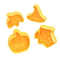 4pcs set Bakeware Tools Halloween Biscuit mould Pumpkin Ghost Theme Plastic Cookie Cutter Plunger Fondant Sugarcraft Chocolate Mold T2I52769