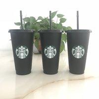 Starbucks 24oz / 710ml Plastique, Tumbler Réutilisable Noir, Boire à fond plat Tasse de la gobelette de la gobelet 5 pcs DHL