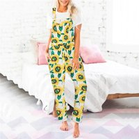 Women's Jumpsuits & Rompers Summer Jumpsuit Sunflower Print Loose Womens Casual Overalls Strap One Piece Romper With Pocket