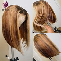 Lace Wigs Highlight Wig Human Hair Straight Bob Front For Women Silk Top With Natural Hairline
