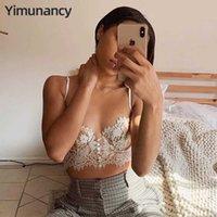 YIMunance Backblob Lace Camisole Женщины Backblee Cross Top Дамы Летние Винтаж underwire Sexy Vest Top 210714