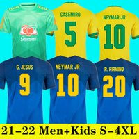 21/22 4XL Erkekler Brasil Neres Coutinho Futbol Formaları Hayranları Oyuncu Sürümü 2021 Camiseta De Futebol Brezilya G.Jesus Firmo Futbol Gömlek Kitleri Çorap Tam Setleri Üniformalar