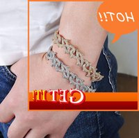Luxury Mens Hip Hop Gold Silver Color 15mm Diamond Spike Braclet Infinity Link Braclets Bangle Micro Pave Cubic Zircon 7inch 8inch