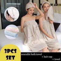 Towel 3pcs set Towelling Bathrobe Bathroom Soft Polyester Magic Absorbent Beach Towels For Girlfriend Quick- Dry Bath