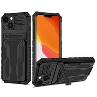 Hybrid Armor Shockproof Phone Cases For iPhone 13 12 Mini 11 Pro XR XS Max X 7 8 Plus Card Slots Bracket Stand Holder