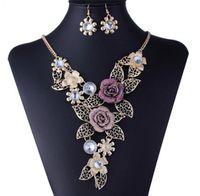 مجموعة مجوهرات الزفاف للنساء، الرجعية جوفاء زهرة سبيكة قلادة أقراط قطعتين بدلة، فستان العروسة الزفاف والمجوهرات