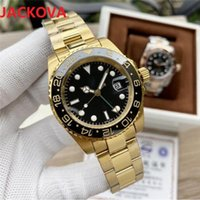Top Mens Blue Red Watches Business Style Automatic Watch 40mm Mechanical Movement GMT Ceramic Bezel Classic Clock Men