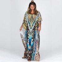 Retro Leopard Morrocan Kaftan Plus Size Indie Folk V-neck Batwing Sleeve Side Split Summer Dress For Women Clothing N1234 210416