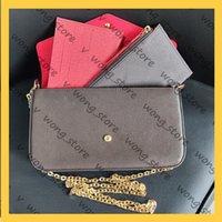 Женщины Luxurys дизайнеры на плечо 2021 мода леди кошелек на цепочке 3 шт. Набор кошельки многоцветный крест сумка сумка сумка 20123104W