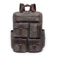 Designer Waxed Canvas and Leather Mens Casual Backpack Vintage Travel Rucksack Hiking Camping Backpack Anti-theft 14-inch Laptop Bag