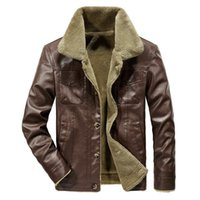Men's Trench Coats Leather Jackets Winter Fleece Thick Men Turn Down Collar Vogue Pocket Outerwear Clothing Plus Size 5XL 6XL