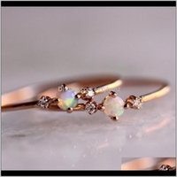 Womens Simple Thin Charming Opal Set Auger Crystal Rhinestone Rings Engagement Wedding Finger Band Ring Female Jewelry Gifts Size Mur A3Owg