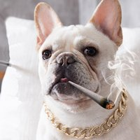 metal big gold chain summer neckwear fashion accessories Teddy French bucket collar small Dog pet Necklace