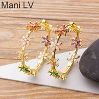 2021 New Design luxury Flower Rhinestone Earrings Big Circle Colorful Loop For Women Girls Party Wedding Jewelry Gifts
