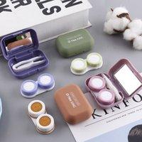 서리로 덥은 미니 고무 페인트 사각형 케이스 미러 여성 컬러 es 상자 눈 콘택트 렌즈 컨테이너