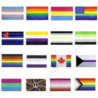 3 * 5 pies Banderas del arco iris 90x150cm Americanos Gay Pride Bander Banner Polyester American Banders Rainbows Cosas Cosas Prides Bisexual Lesbiana Pansexual Decoración VT9006
