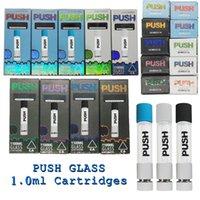 Push Full Glass Vape Cartridges 1.0ml Ceramic 510 Atomizer Pudełko prezentowe Wózki Opakowanie Puste Pióra Vaporyzer 1,6mm Otwory Oleju Naciśnij Dostosuj Atomizery Logo