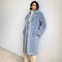Women's Wool & Blends Hadara Winter Thick Coats Women Fashion Loose Blue Lamb Jackets Elegant Turn Down Collar Long Female Ladies JN