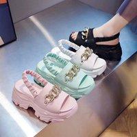 Dress Shoes Beige Heeled Sandals Clogs Wedge Female Shoe Espadrilles Platform 2021 Women's Increasing Height Black Gladiator Girls High Com