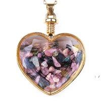 Crystal Heart Colgante Collares Party Supplies Suministros Drifting Deseando Botella de cristal Collar para mujer Joyería de moda OWC7511