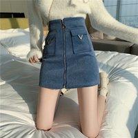 Jederin Frauen Hohe Taille Tweed Rock Frauen Herbst Winter Mode Front Zip Slim Eine Linie Minirock Weibliche sexy koreanische Untere Rock