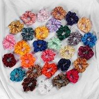 Moda Scrunchies Bantlar Katı Saten Hairbands İpeksi Scrunchie Saç Bantları Kız Çocuk At Kuyruğu Tutucu Saç Aksesuarları 54 Renkler 914 V2