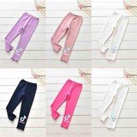 Şeker Renkleri Çocuk Katı Renkli Mektuplar Baskılı Pantolon Bebek Grils Pantolon Moda Tiktok Pantolon Cadılar Bayramı Rahat Uzun Pantolon Giysileri G973EG8