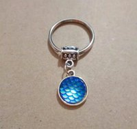 Keychains 20pcs lot Fish Scale Mermaid Keychain With ScalesFashion Key Ring Lovers Friends Pendant Jewelry