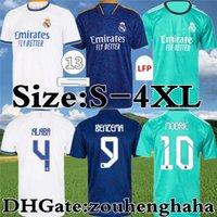 레알 마드리드 축구 유니폼 벤제마 멀리 Camiseta Hombre Primera Equipación Blanca 2021 22 위험 Asensio Casemiro Alaba Vini Jr. ISCO 홈 축구 셔츠 키트 크기 S-4XL.