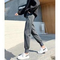 Women's Pants & Capris Fashion Sweatpants Grey Black Patchwork High Waist Joggers Long Pencil Pockets Streetwear Korean Clothing 2021