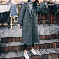 Women's Wool & Blends Plaid Woolen Coats Women Elegant 2021 Autumn Winter Thicken Warm Fashion Vintage Female Outwear Woman Clothes Loose Ja