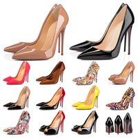Дизайнерская обувь Кроссовки So Kate Styles Туфли на высоких каблуках Красные подошвы на каблуках Роскошные 12 СМ 14 СМ Натуральная кожа Точка Toe Насосы Резиновый размер 35-42