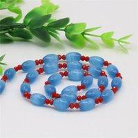 Alta Qualidade Moda Azul Natural Opal Gato Olho 8x12mm Arroz Beads Colar Para As Mulheres Presente Jóias Fazendo Ornamentos 18inch Y117 Correntes