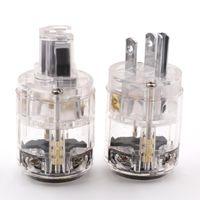 Enchufes SMART POWERS HI-END Transparente Clear Rodio Chapado en Rodio Masculino Cable Cable Cable Conector de enchufe para Cable de Audio HIFI