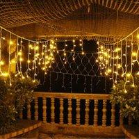 Строки 4M падение 0,6 м 96 светодиодных занавесных сосульки строки света 220V 110V подключаемые XMAS крытый открытый гирлянда вечеринка свадебный декор