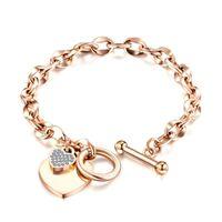 Fashion Love Bracelet Bijoux En Acier Inoxydable Femmes Rose Gold Or Silver Forme Heart Forme Bracelets pour cadeau d'anniversaire