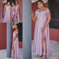 2021 African Plus Size Bridesmaid Dresses Long Side Split Lace Appliques Beads Off The Shoulder Wedding Guest Gowns Spring Maid Of Honor Dress