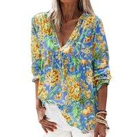 Women Printed V Neck Long Sleeve Blouse Loose Elegant Vintage Plus Size Shirts Female Autumn Casual Clothing Women's Blouses &