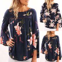 Women Fashion Casual Chiffon O-Neck Flower Printed Loose Long Sleeve Blouse Pullover Tops Plus Size Blusas Femininas#35 Women's Blouses & Sh