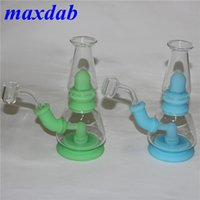glow in the dark Mini Silicone Dab Rigs Water Pipes hookah Bong Bubbler Oil Rig Detachable Unbreakable Percolator with glass bowl quartz banger