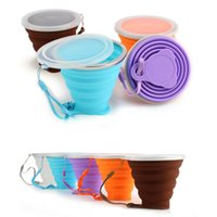 Folding Cups 270ml BPA FREE Food Grade Water Cup Travel Silicone Retractable Coloured Portable Outdoor Coffee Handcup CPA3440