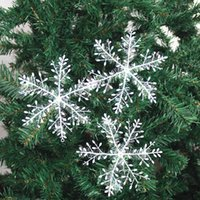 New Snowflake Christmas Decoration Snowflake Christmas Tree Pendant Plastic Silk Snow Flakes Xmas Festive Party Supplies OWE10532