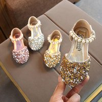 Flat Shoes 2021 Spring Children's Girls Princess Sequins Baby Dance Pearl Half Sandals Student Performance